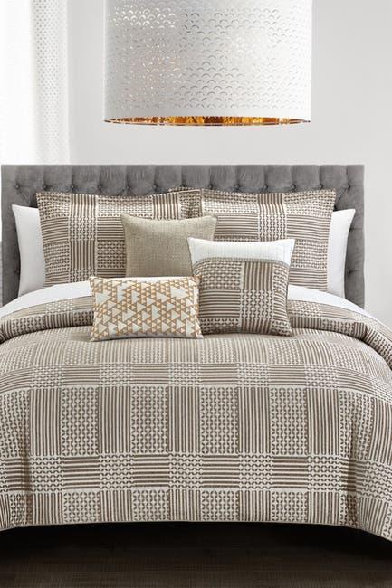 Image of Chic Home Bedding Jodey Chenille Varied Geometric Patterns Design King Comforter Set - Beige - 6-Piece Set