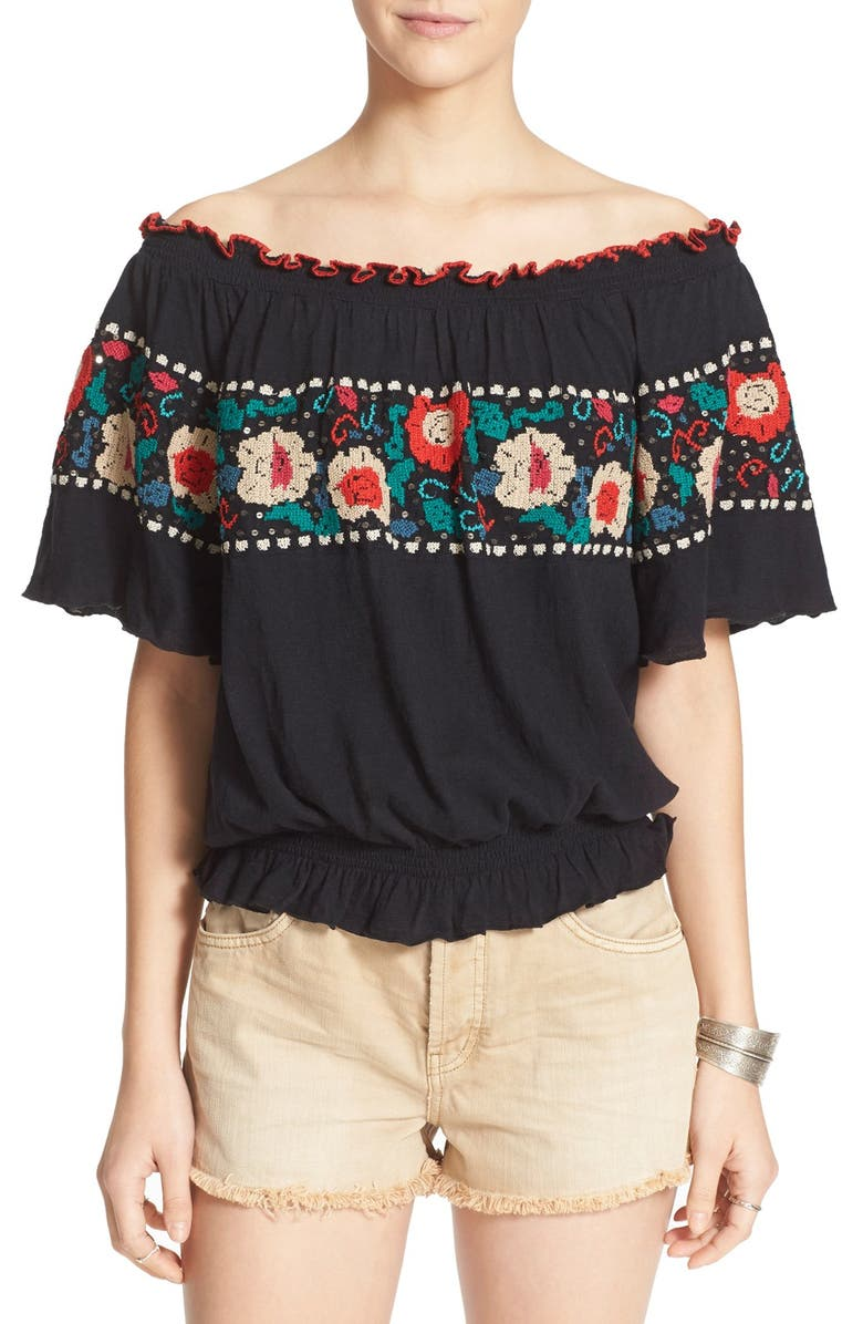FREE PEOPLE 'Sienna' Embroidered Top, Main, color, 001