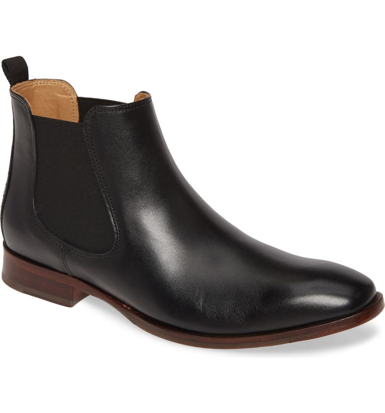 JOHNSTON & MURPHY McClain Chelsea Boot, Main, color, BLACK LEATHER