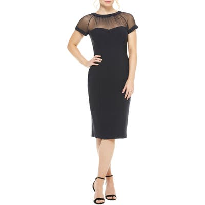 Maggy London Illusion Yoke Crepe Cocktail Dress