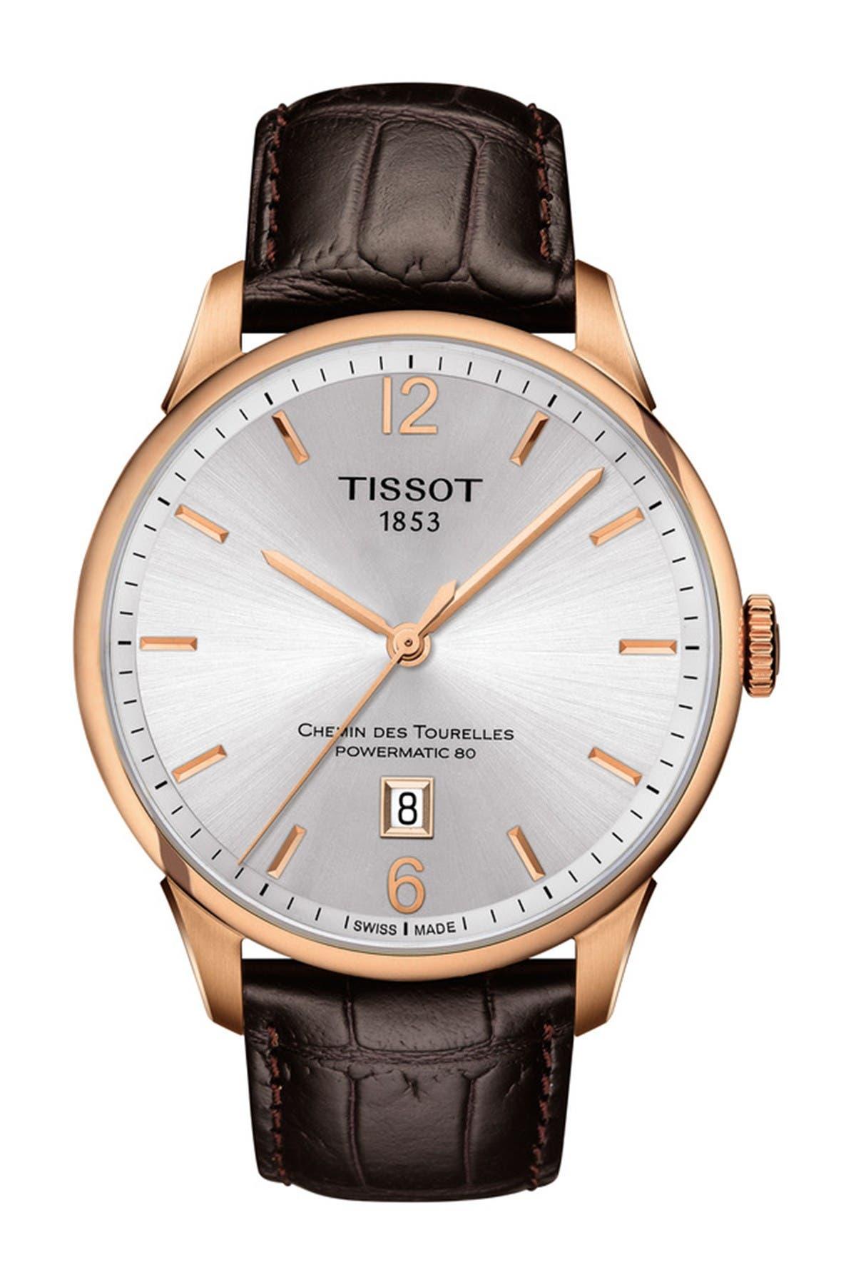 Image of Tissot Men's Chemin des Tourelles Powermatic 80 Croc Embossed Leather Strap Watch, 42mm