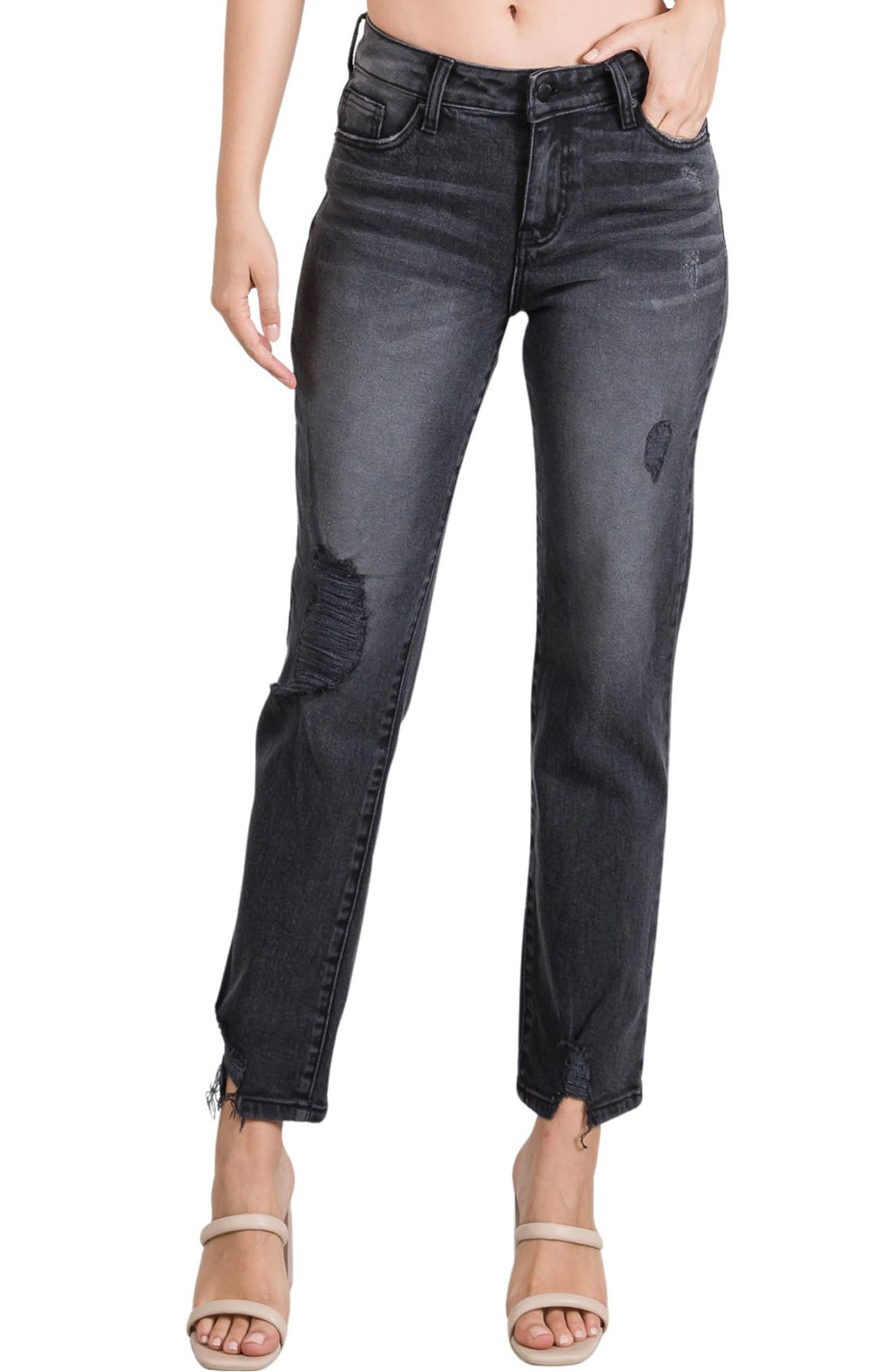 Romeo Distressed High Waist Relaxed Fit Jeans