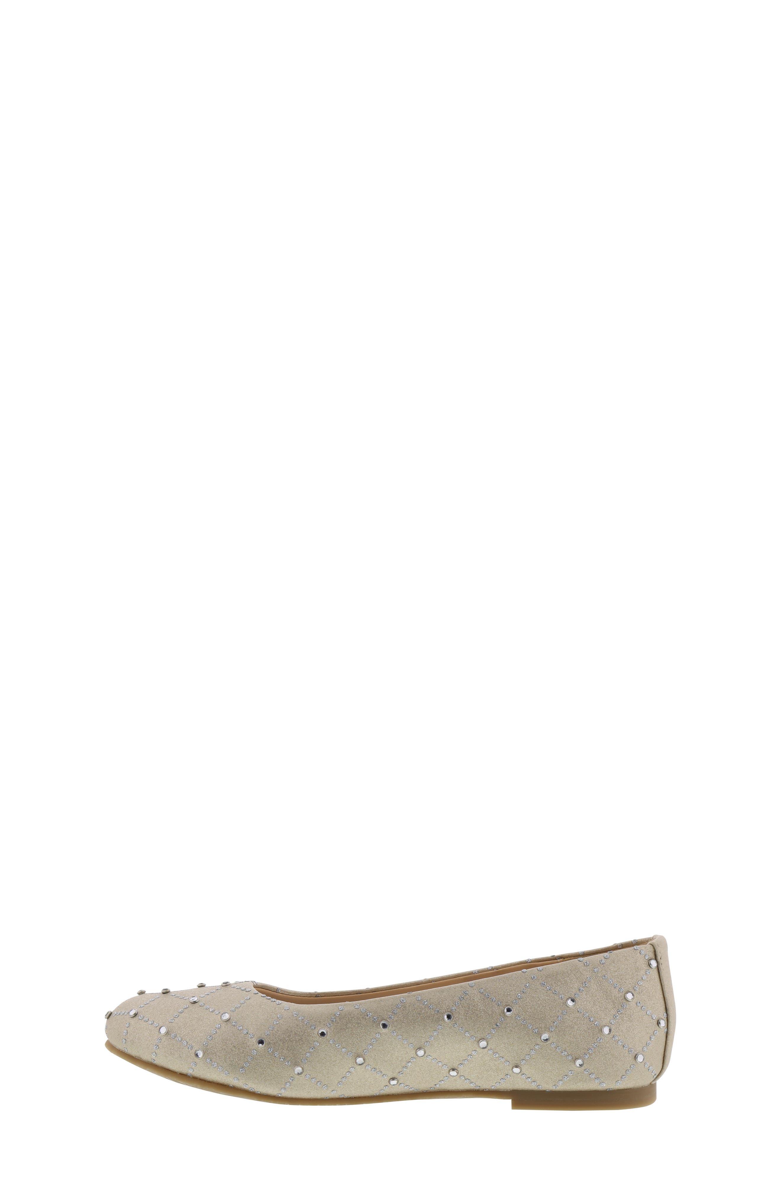 ,                             Badgley Mischka Amber Embellished Flat,                             Alternate thumbnail 8, color,                             LIGHT GOLD SHIMMER