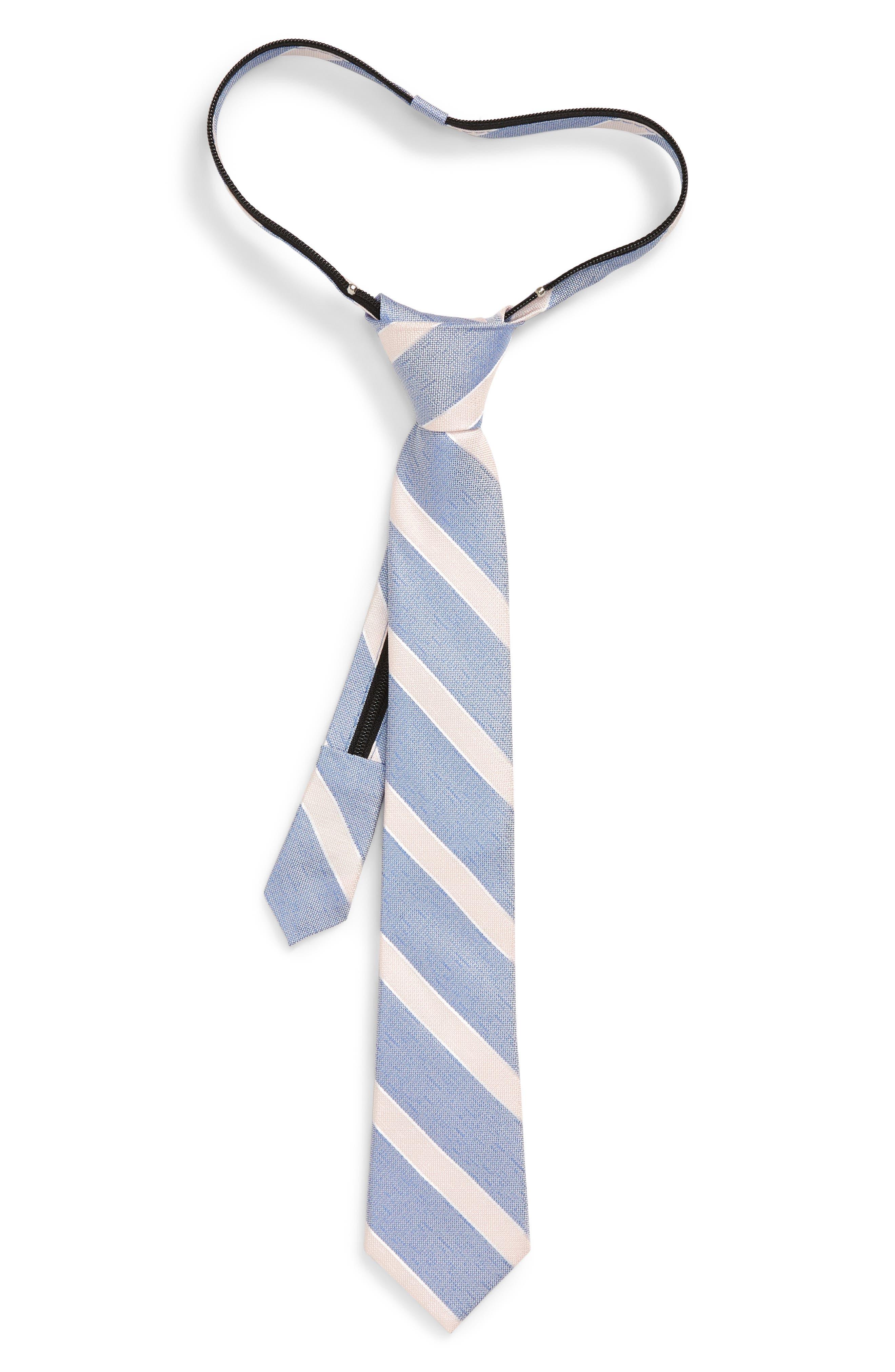 Boys Nordstrom Anthony Stripe Zip Silk Tie Size Big Boy  Blue