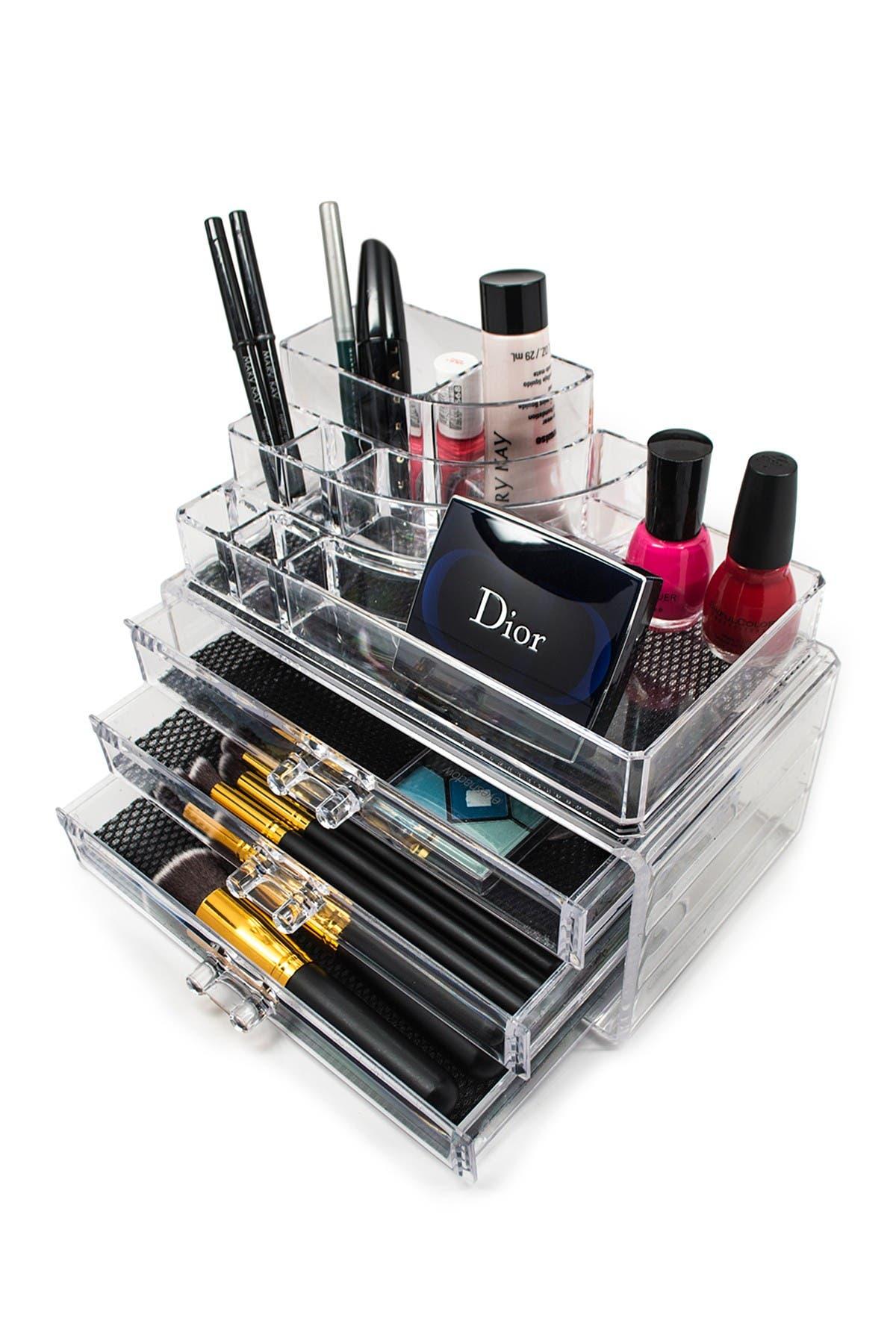 Image of Sorbus Acrylic 3 Drawer Round Top Organizer Cosmetics & Makeup Storage Case Display