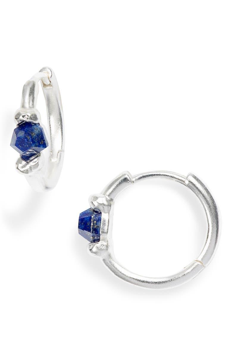 KENDRA SCOTT Ellms Huggie Earrings, Main, color, SILVER/ BLUE LAPIS