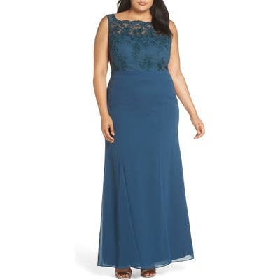 Plus Size Chi Chi London Embroidered Gown, Green