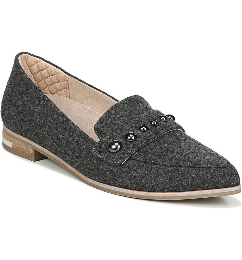 DR. SCHOLL'S Faxon Studded Loafer, Main, color, DARK CHARCOAL FABRIC