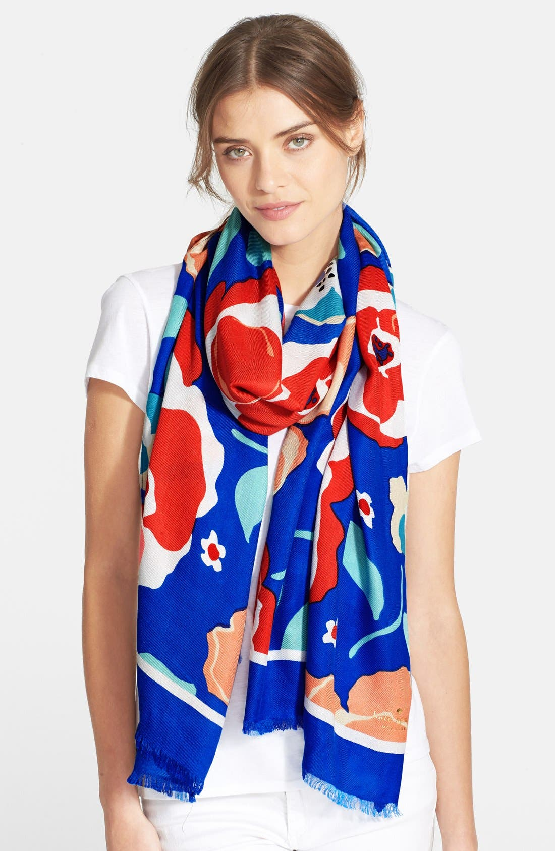 ,                             'multi floral' scarf,                             Main thumbnail 1, color,                             400
