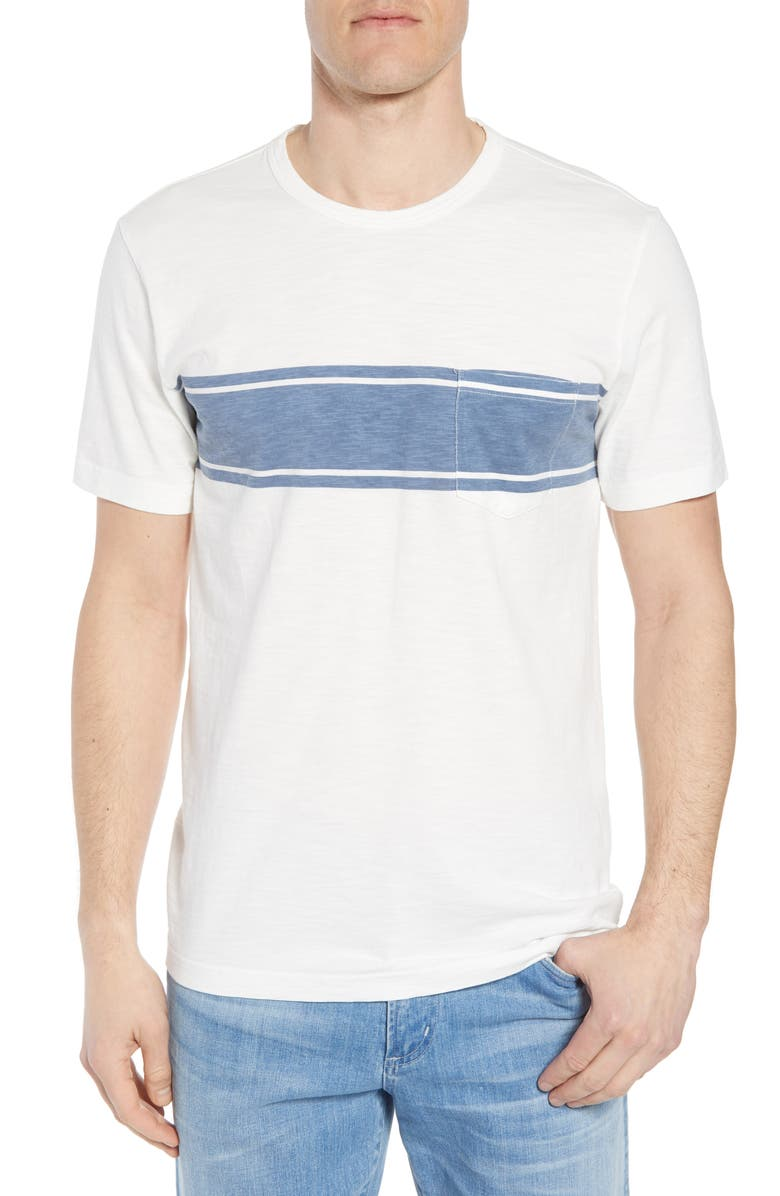 FAHERTY Surf Stripe Pocket T-Shirt, Main, color, WHITE SURF STRIPE