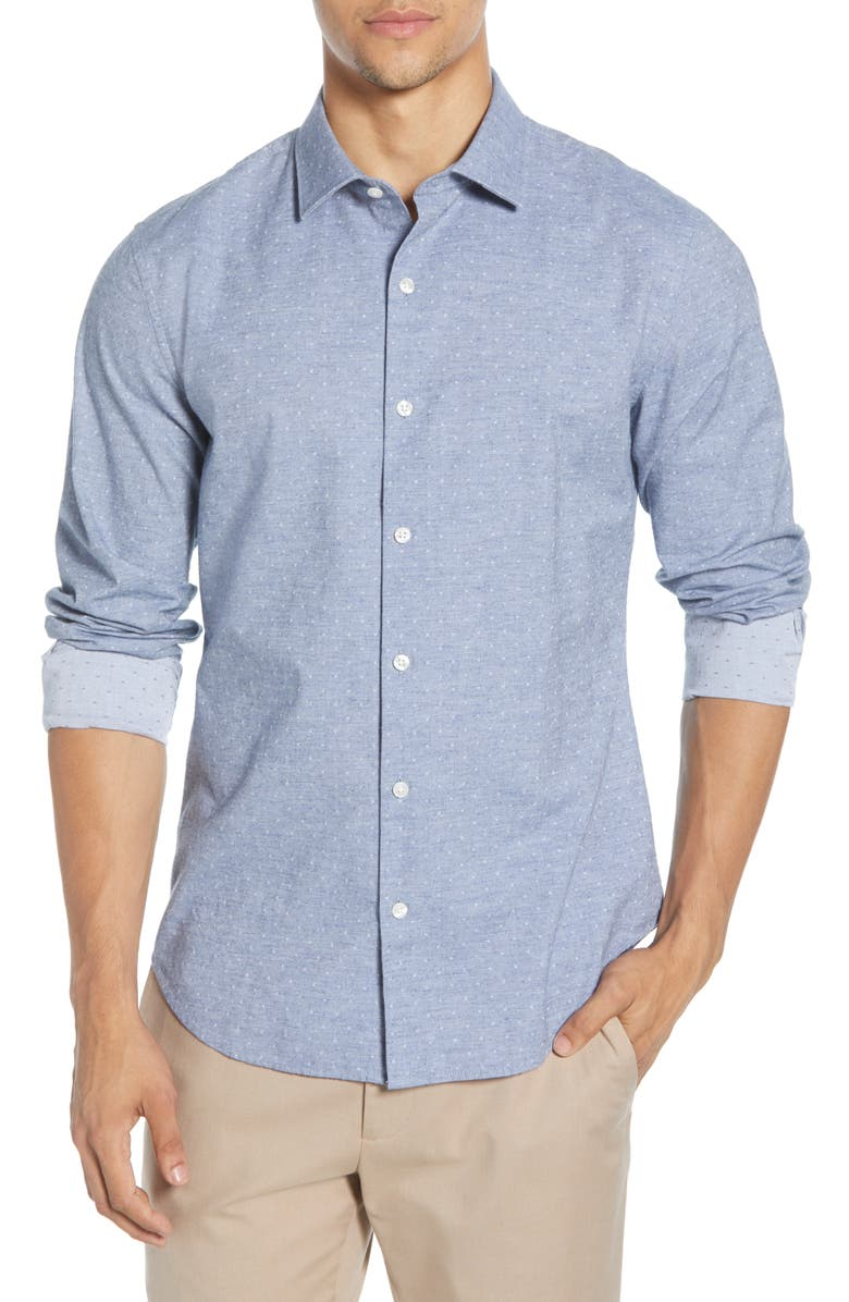 BONOBOS Unbutton-Down Slim Fit Dobby Button-Up Shirt, Main, color, GRANT CARBON BLUE