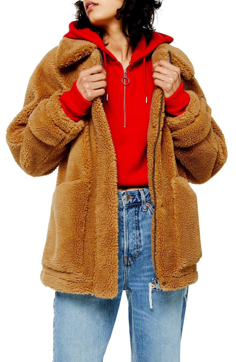 TOPSHOP Fleece Jacket, Main, color, CAMEL