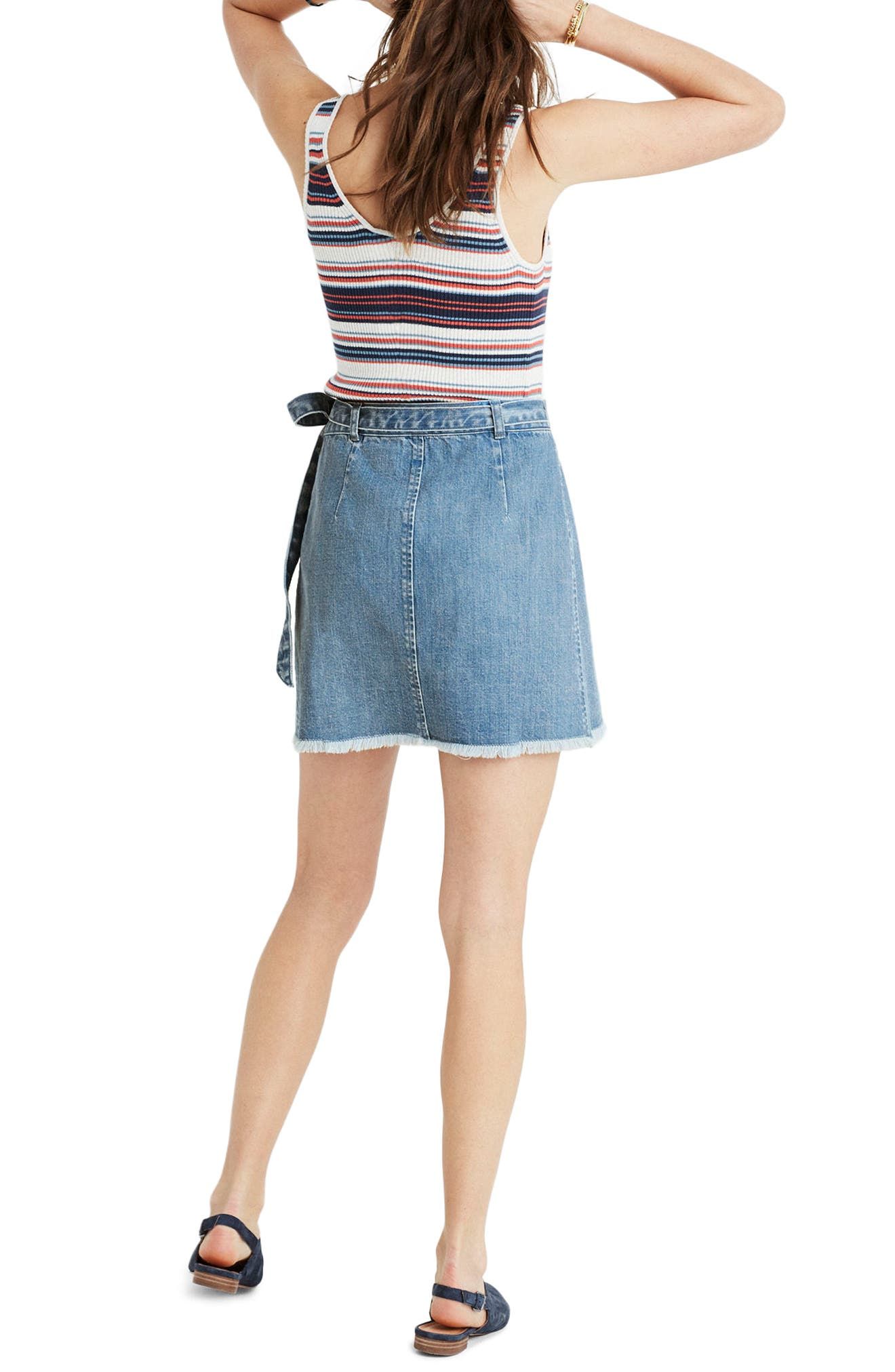 ,                             Raw Hem Wrap Denim Skirt,                             Alternate thumbnail 2, color,                             400