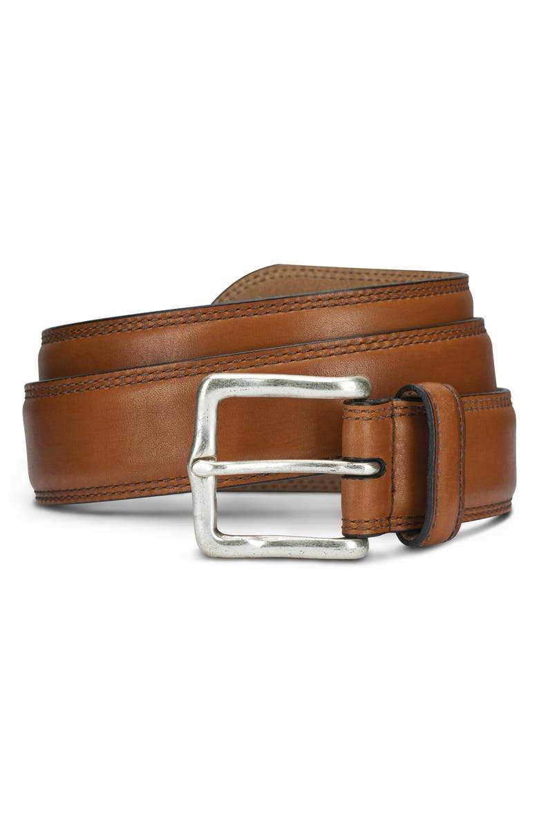 ALLEN EDMONDS Wide Street Leather Belt, Main, color, WALNUT