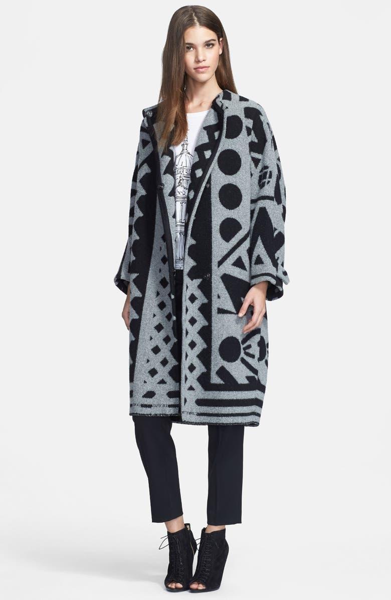 BURBERRY PRORSUM Jacquard Wool & Cashmere Blanket Coat, Main, color, 035