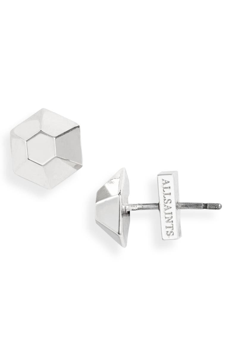 ALLSAINTS Hexagonal Dome Stud Earrings, Main, color, SILVER