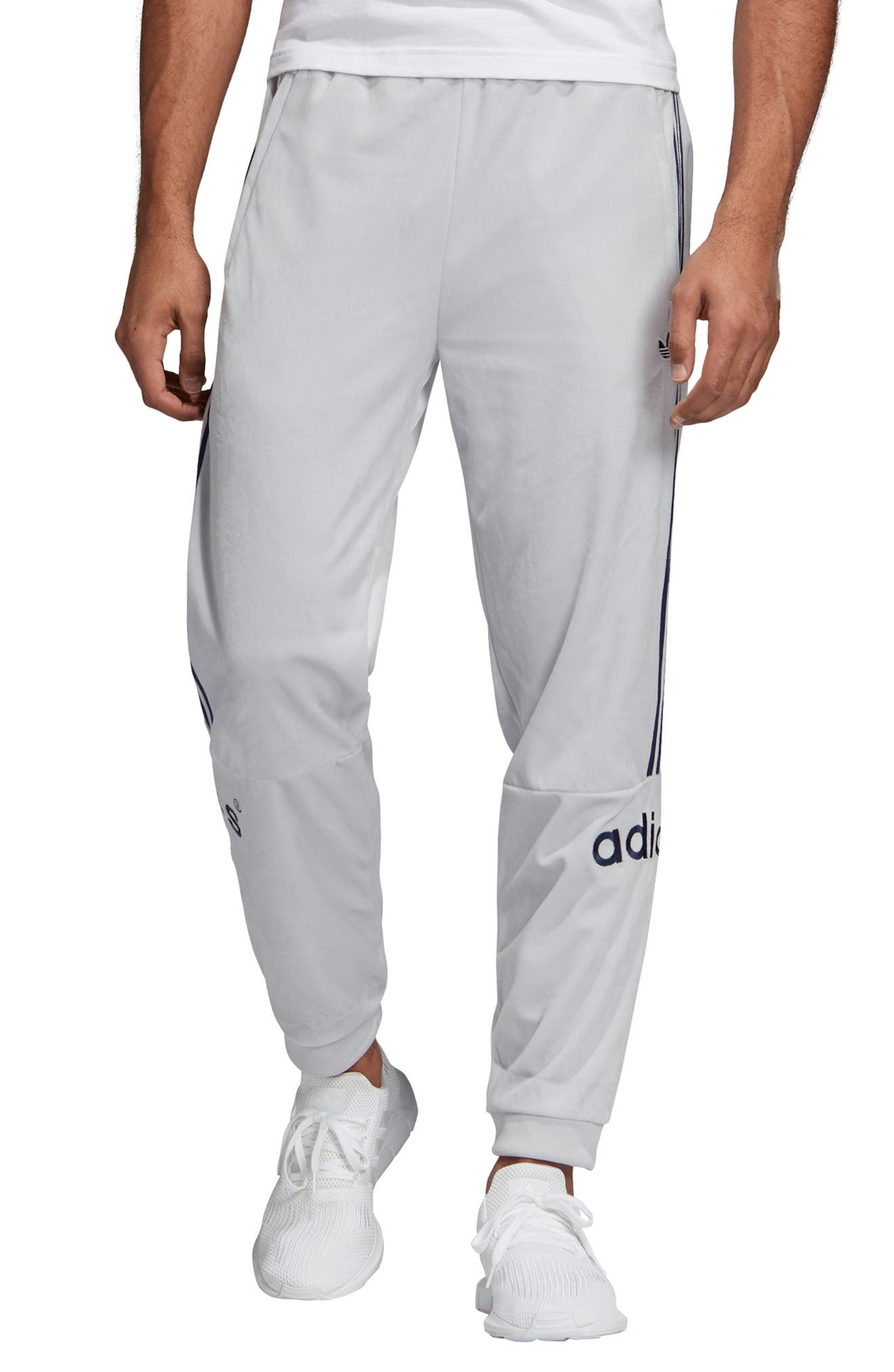 Arc Velour Track Pants, Main, color, LIGHT GREY HEATHER/ SOLID GREY