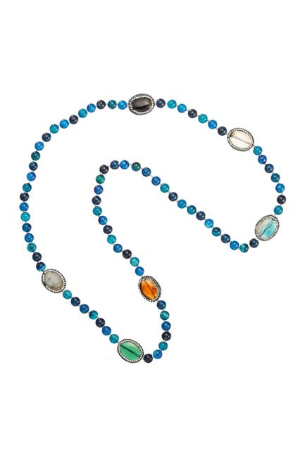 Image of Eye Candy Los Angeles Find Me Over the Rainbow Multi Color Mixed Agate Beaded Spacer Necklace