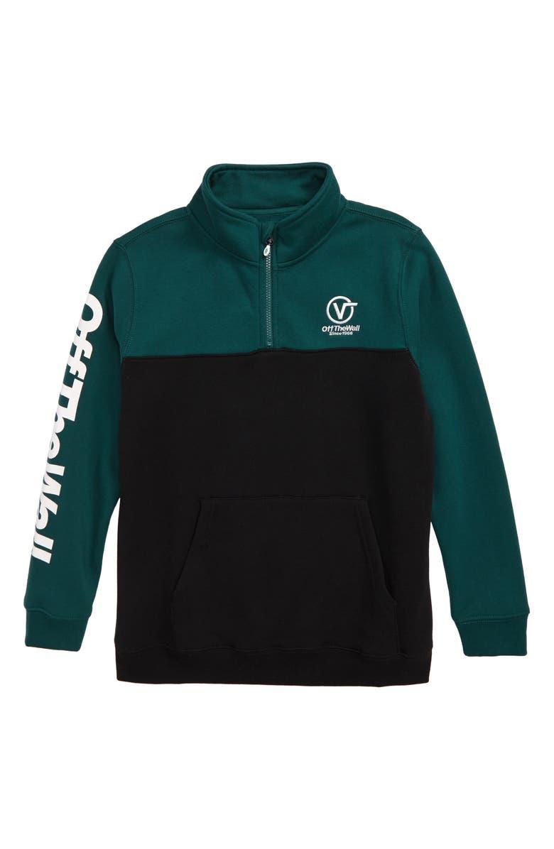 VANS Distorted Performance Quarter Zip Sweatshirt, Main, color, VANS TREKKING GREEN/ BLACK