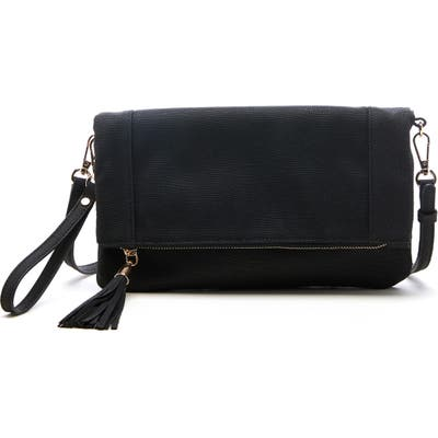 Sole Society Convertible Faux Leather Clutch - Black
