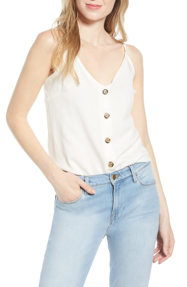 BISHOP + YOUNG Button-Up Camisole, Main, color, 100