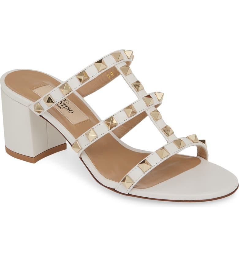 VALENTINO GARAVANI Rockstud Slide Sandal, Main, color, OPTIC WHITE