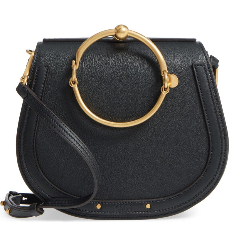 CHLOÉ Medium Nile Leather Bracelet Saddle Bag, Main, color, 001