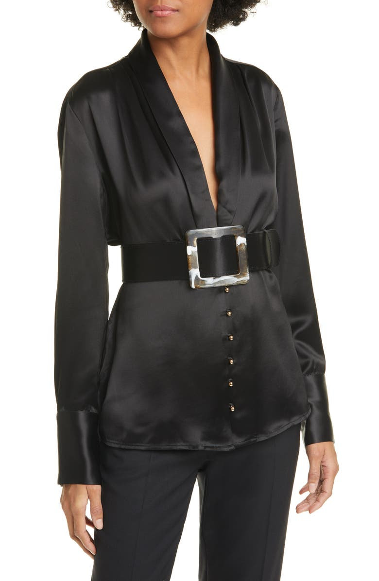 NICHOLAS Sahra Shawl Collar Belted Blouse, Main, color, BLACK