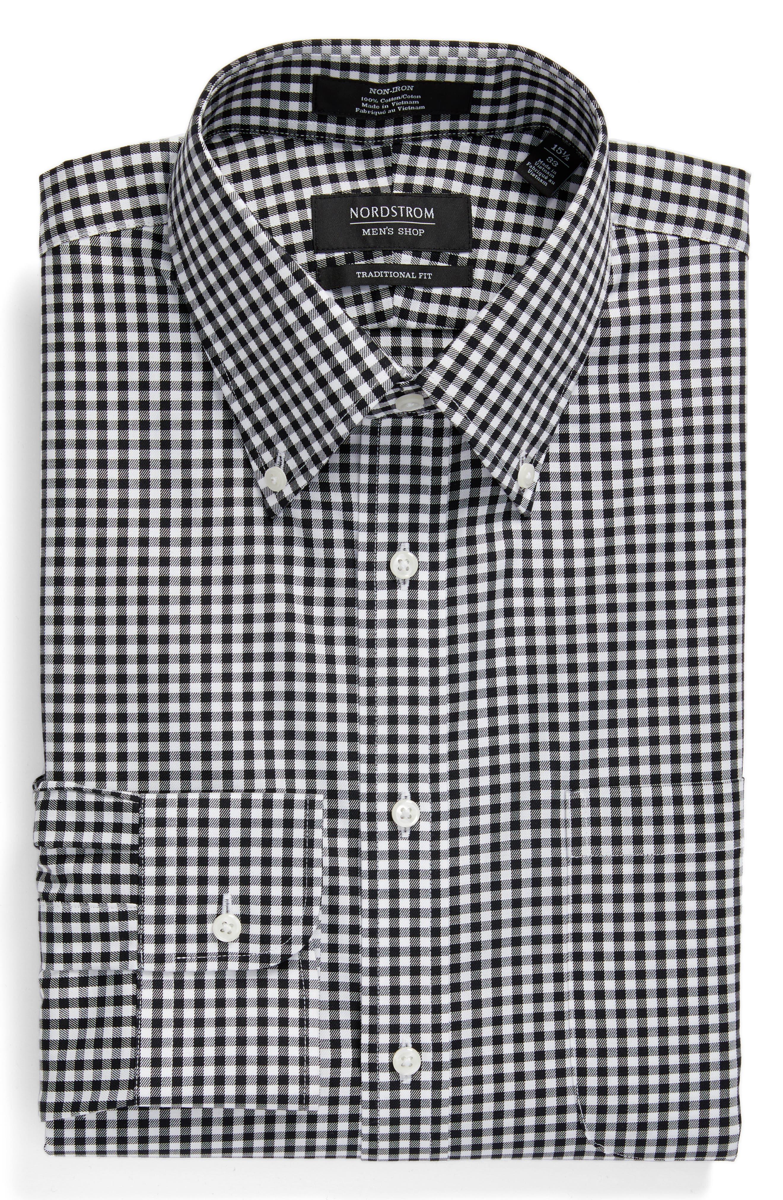 ,                             Traditional Fit Non-Iron Gingham Dress Shirt,                             Alternate thumbnail 3, color,                             BLACK ROCK