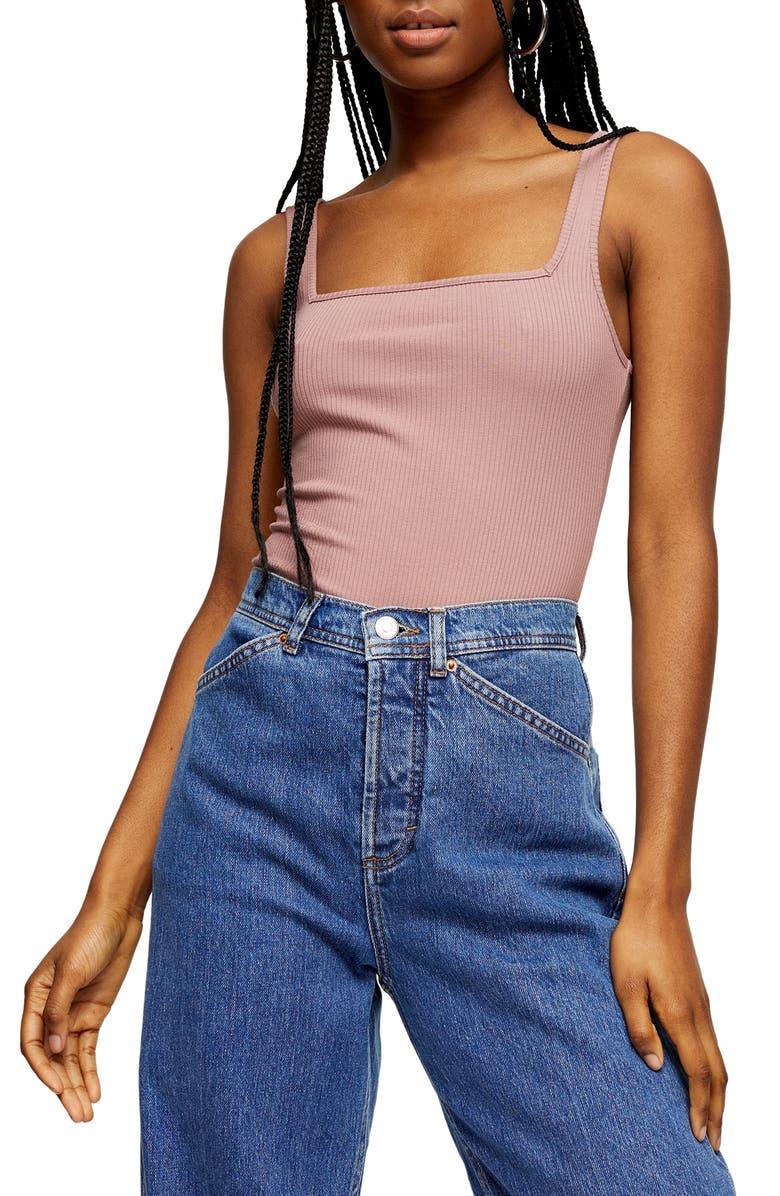 TOPSHOP Square Neck Ribbed Bodysuit, Main, color, PINK