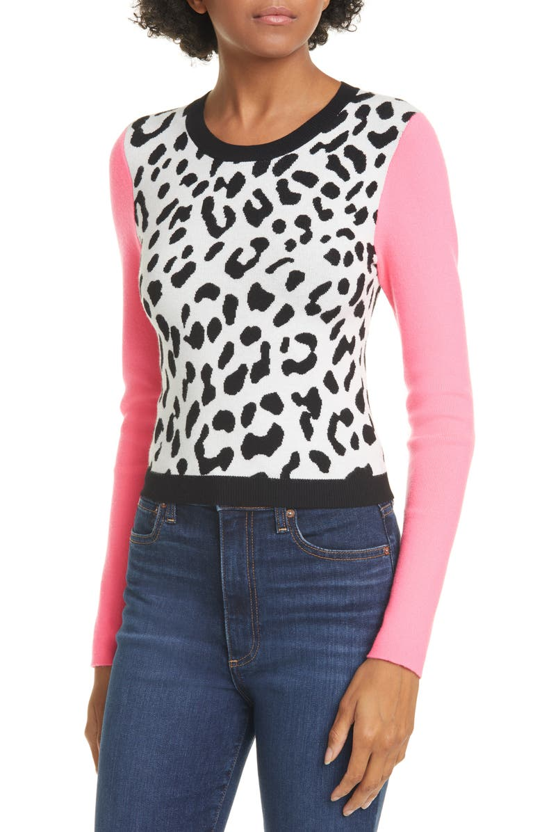 ALICE + OLIVIA Ciara Leopard Pattern Sweater, Main, color, LEOPARD POP
