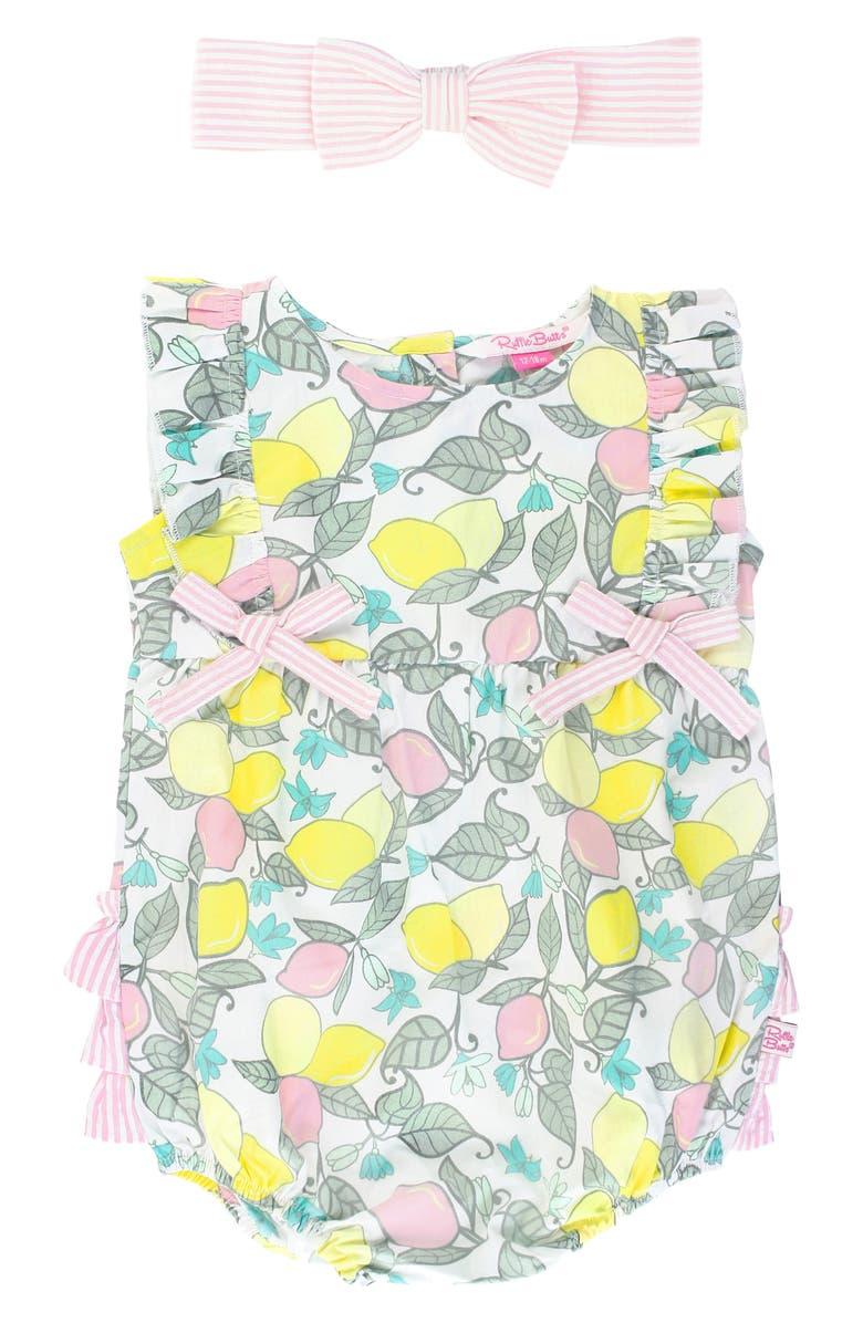 RUFFLEBUTTS Lemonade Ruffle Bubble Romper & Head Wrap Set, Main, color, YELLOW/ WHITE