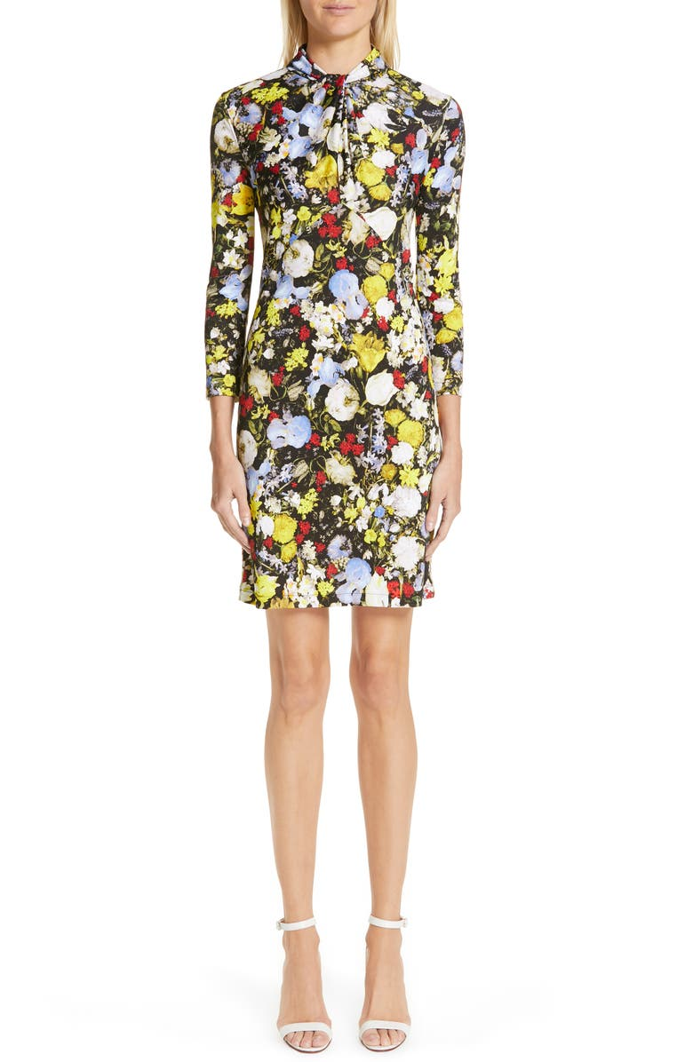 ERDEM Floral Print Jersey Dress, Main, color, 001