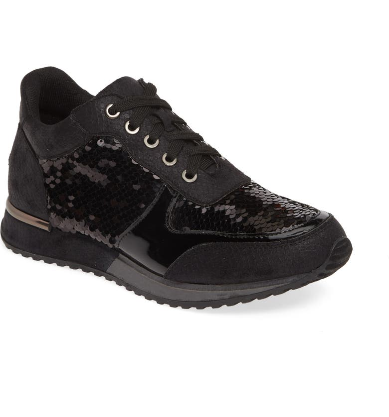 LAUREN LORRAINE Axel Embellished Sneaker, Main, color, BLACK FABRIC