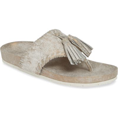 Jslides Nigel Tassel Slide Sandal- Metallic