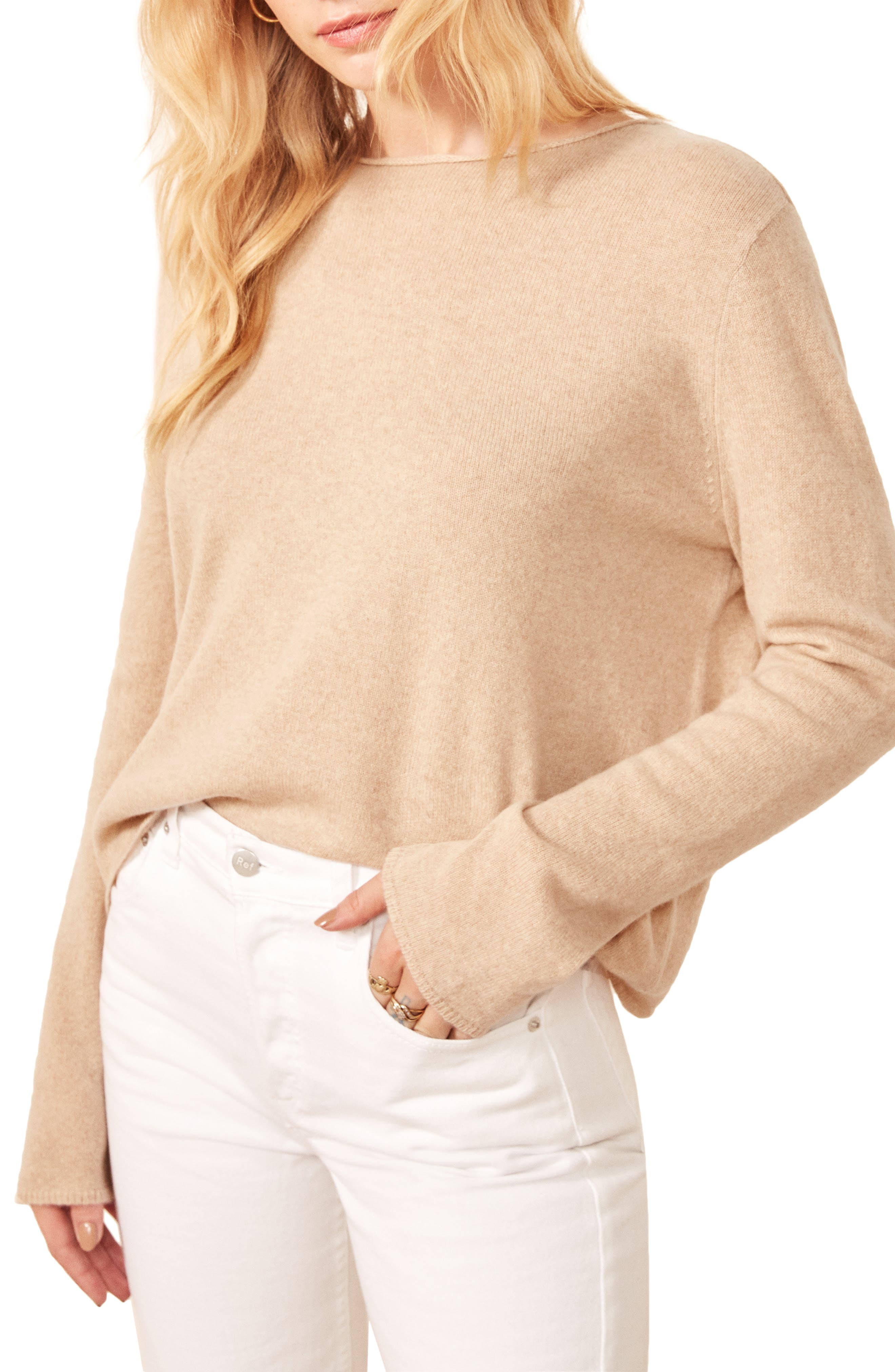 Made with recycled cashmere, this relaxed sweater is as cozy as it is eco-conscious. Style Name: Reformation Cashmere Blend Sweater. Style Number: 5920171. Available in stores.