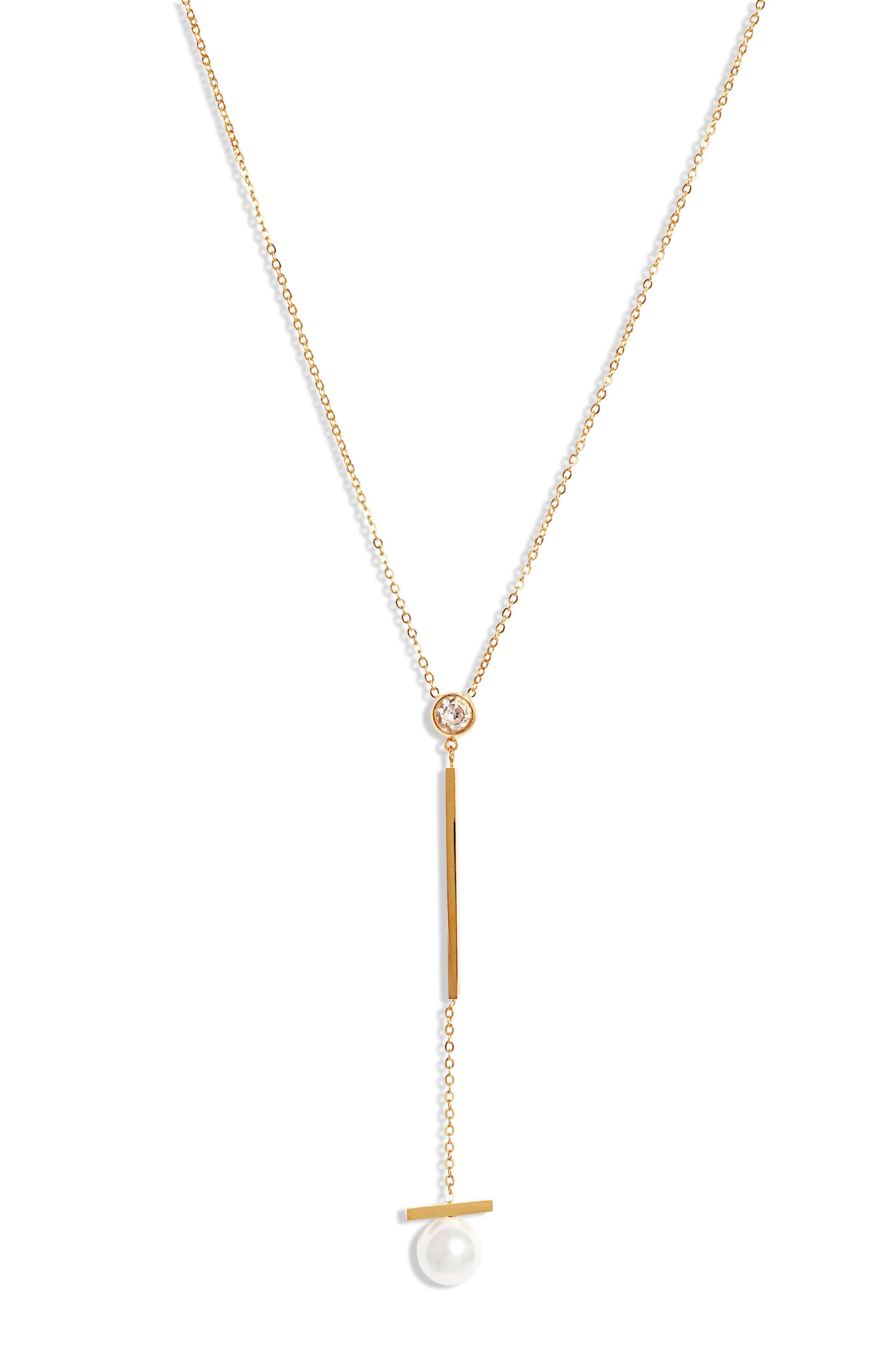 Imitation Pearl Drop Y-Necklace