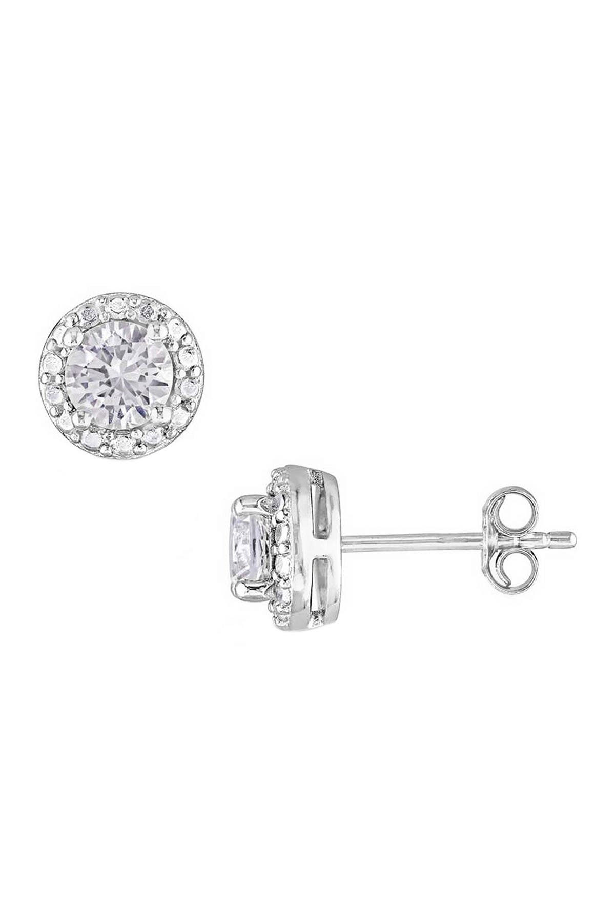Image of Savvy Cie Sterling Silver Diamond Halo White Sapphire Stud Earrings