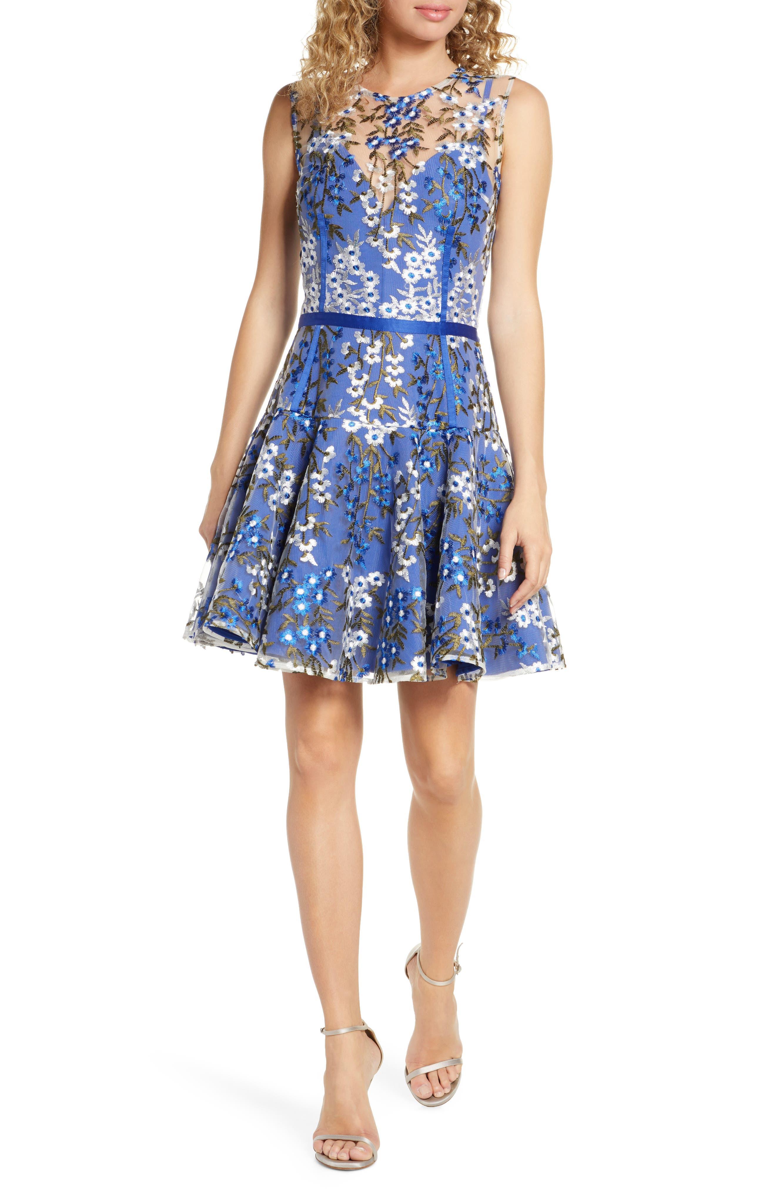 Bronx And Banco Poppy Cobalt Party Dress, Blue