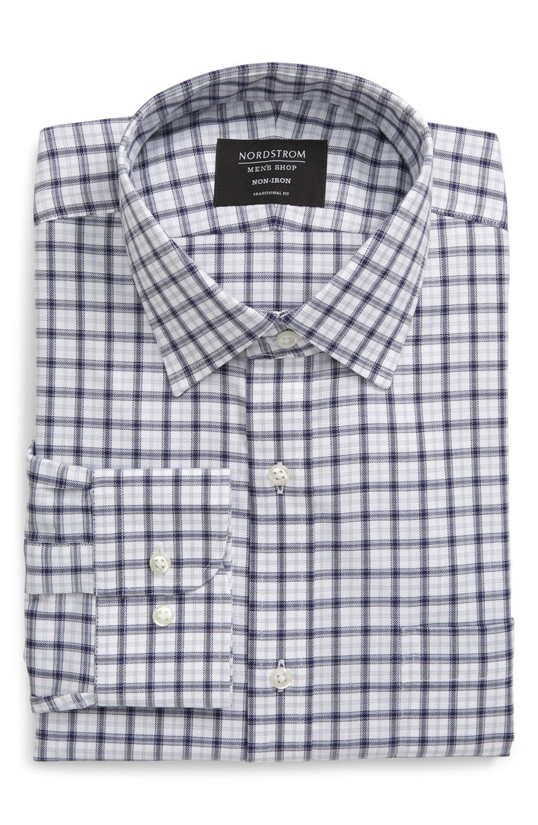NORDSTROM MEN'S SHOP Traditional Fit Non-Iron Check Dress Shirt, Main, color, BLUE TWILIGHT