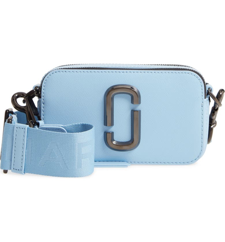 THE MARC JACOBS Snapshot Leather Crossbody Bag, Main, color, DREAMY BLUE