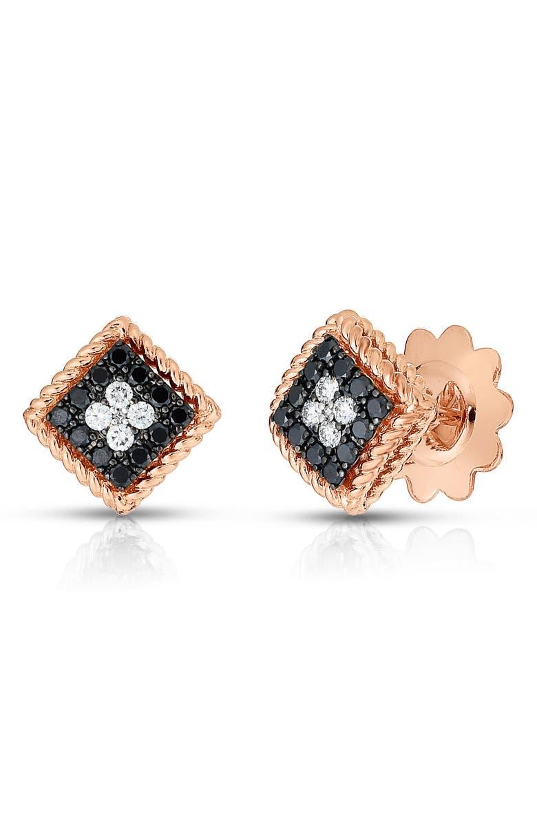 ROBERTO COIN Palazzo Ducale Diamond Stud Earrings, Main, color, ROSEGOLD/DIAMOND/BLACKDIAMOND