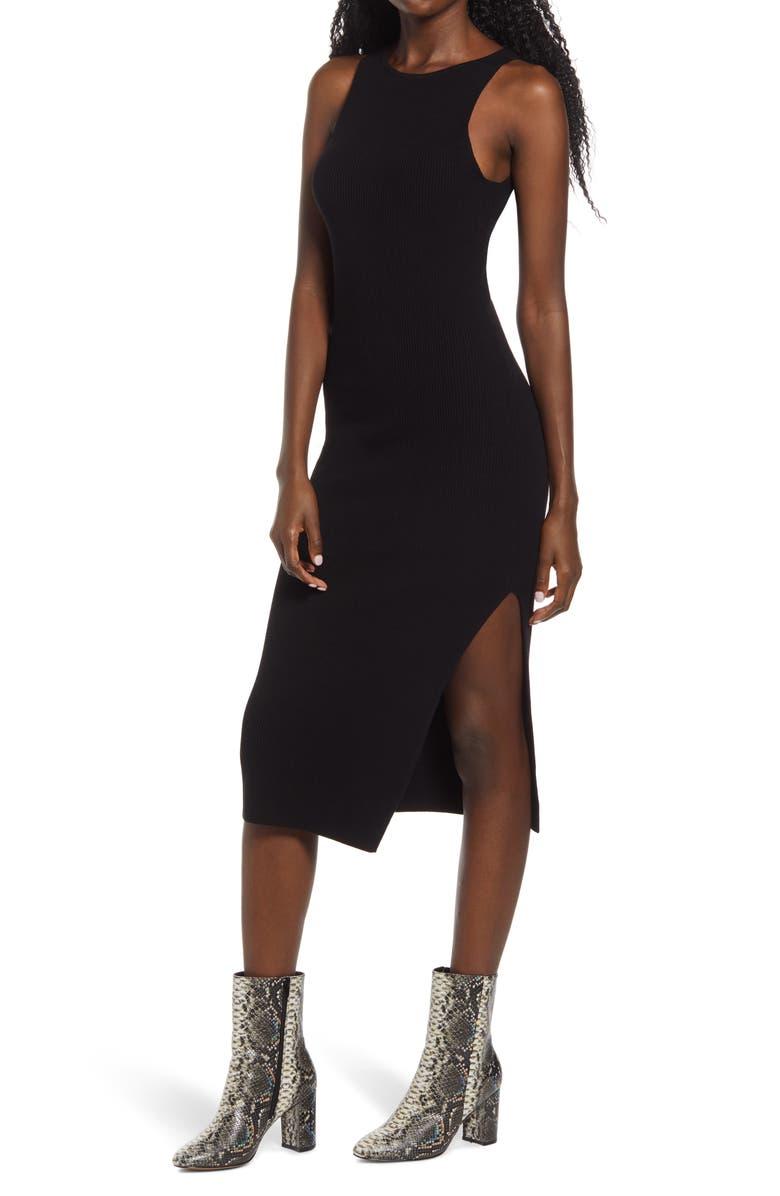 LEITH Rib Sleeveless Midi Dress, Main, color, BLACK