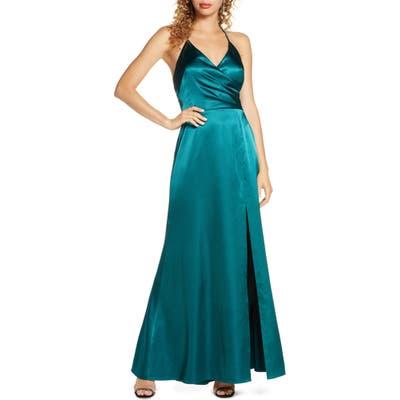 Morgan & Co. Surplice Satin Gown, Green