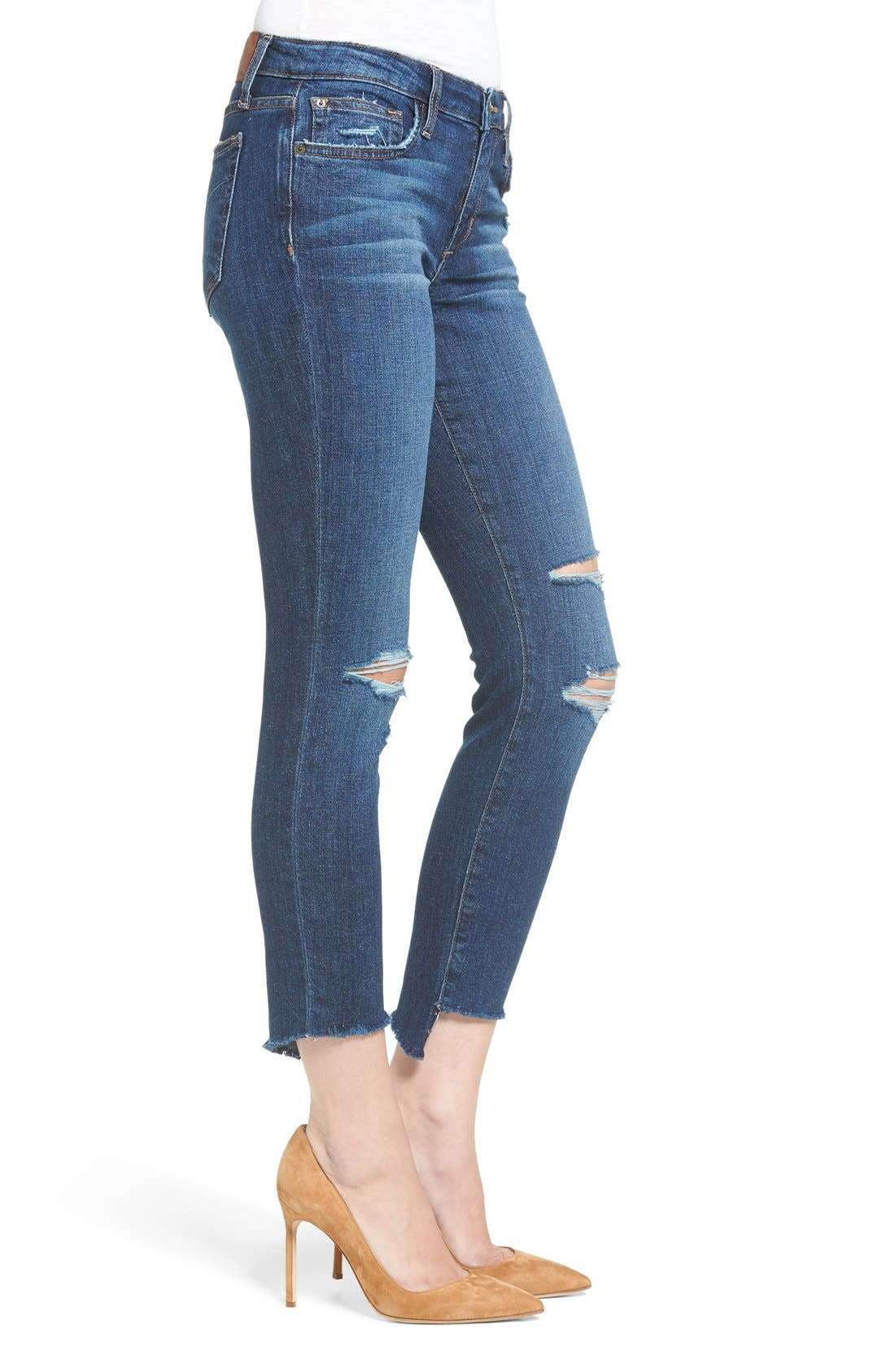 ,                             Icon Ripped Step Hem Crop Skinny Jeans,                             Alternate thumbnail 4, color,                             440