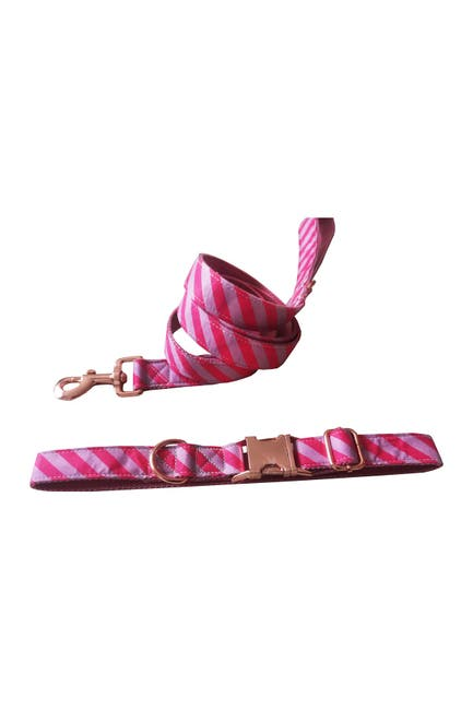 Image of Dogs of Glamour Pink Chevron Collar & Leash Set - Large