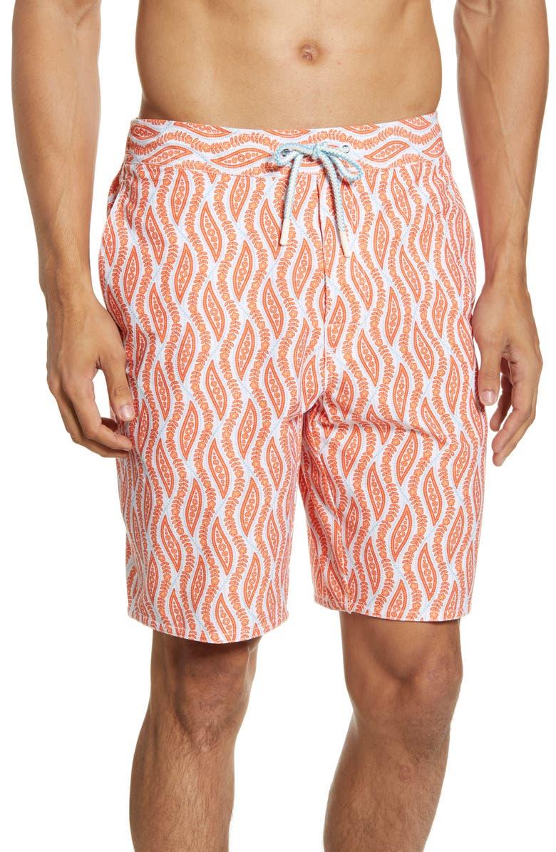 JOHNNIE-O Tivoli Swim Trunks, Main, color, TANGERINE