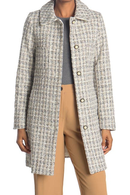 Image of Laundry By Shelli Segal Tweed Four Pocket Coat