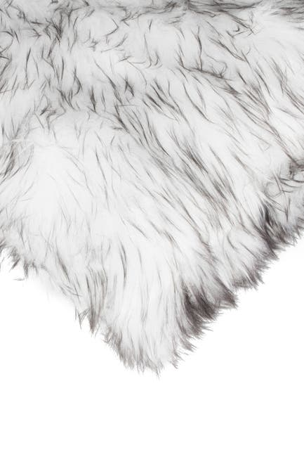 "Image of LUXE Belton Faux Fur Pillow - Set of 2 - 18"" x 18"" - Gradient Grey"