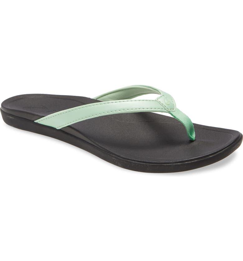 OLUKAI Ho Opio Flip Flop, Main, color, MINT FABRIC